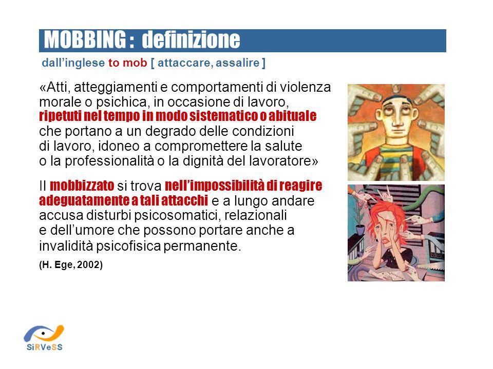 MOBBING : definizione dall'inglese to mob [ attaccare, assalire ]
